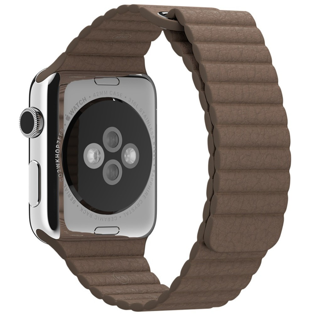 Curea piele pentru Apple Watch 44mm iUni Brown Leather Loop imagine techstar.ro 2021