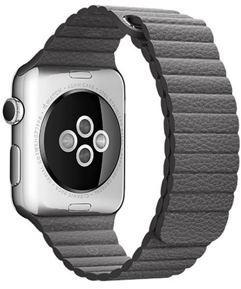 Curea piele pentru Apple Watch 44mm iUni Dark Gray Leather Loop