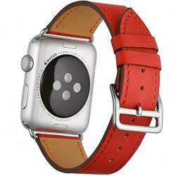 Curea pentru Apple Watch 44mm piele iUni Single Tour Rosu