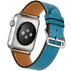 Curea pentru Apple Watch 42mm piele iUni Single Tour Albastru
