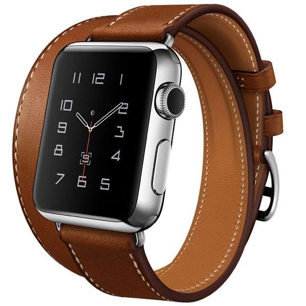 Curea pentru Apple Watch 44mm piele iUni Double Tour Maro