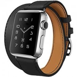 Curea pentru Apple Watch 38mm piele iUni Double Tour Negru