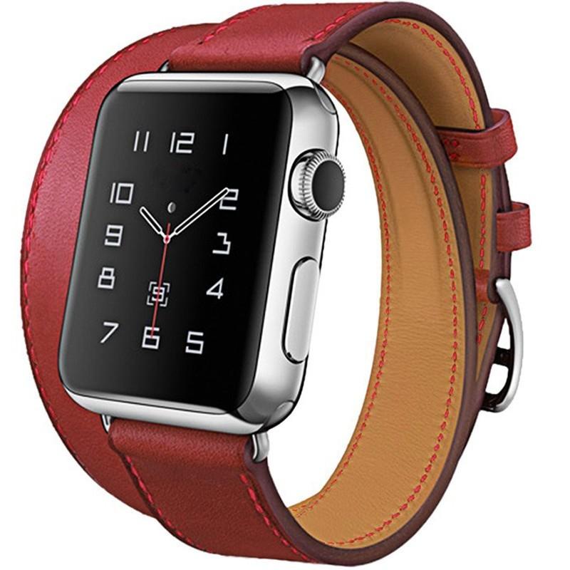 Curea pentru Apple Watch 42mm piele iUni Double Tour Rosu