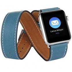 Curea pentru Apple Watch 42mm piele iUni Double Tour Albastru