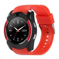 Ceas Smartwatch V8 Rosu HandsFree Bluetooth 3.0 Micro SIM Android Waterproof Camera 1.3MP