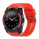 Ceas Smartwatch V8 Rosu HandsFree Bluetooth 3.0 Micro