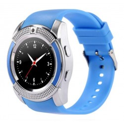 Ceas Smartwatch V8 Albastru HandsFree Bluetooth 3.0 Micro SIM Android Waterproof Camera 1.3MP