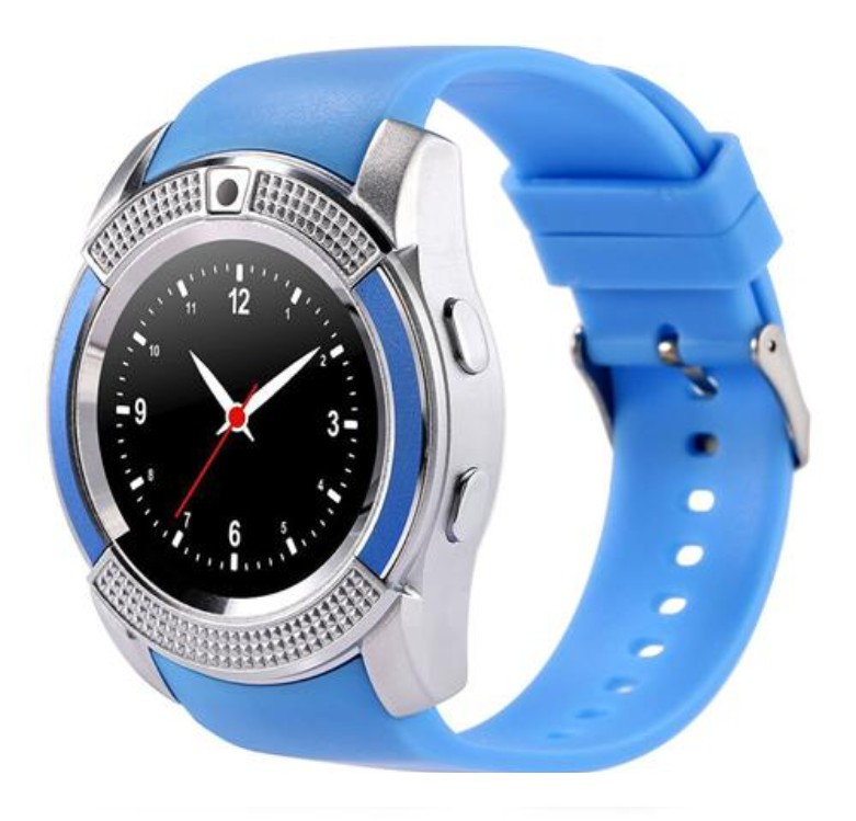 Ceas Smartwatch V8 Albastru HandsFree Bluetooth 3.0 Micro SIM Android Camera 1.3MP poza 2021