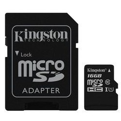 Card de Memorie Kingston Canvas Select microSDHC 16GB + Adaptor SD