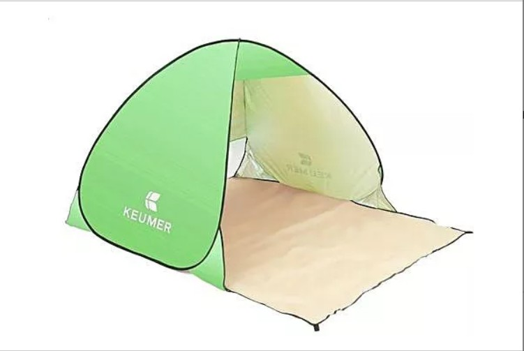Cort Pentru Plaja Verde Deschis Anti-UV Tip Pop-up cu Deschidere in Spate Pentru 2 Persoane Marime 200x120x130cm imagine techstar.ro 2021