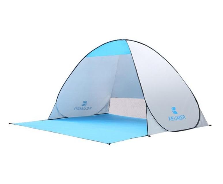 Cort Pentru Plaja Argintiu Anti-UV Tip Pop-up cu Deschidere in Spate pentru 2 Persoane Marime 200x120x130cm imagine techstar.ro 2021