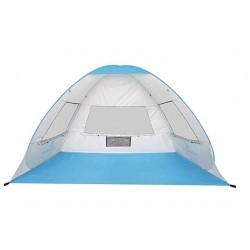 Cort Pentru Plaja Albastru Anti-UV Tip Pop-up cu Ferestre pentru 2 Persoane Marime 200x135x130cm