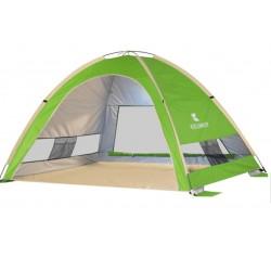Cort Pentru Plaja Verde Anti-UV Tip Pop-up cu o Fereastra pentru 3-4 Persoane Marime 210x160x130cm