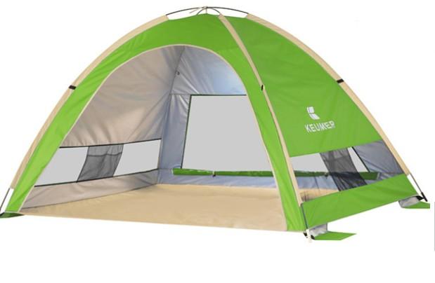 Cort Pentru Plaja Verde Anti-UV Tip Pop-up cu o Fereastra pentru 3-4 Persoane Marime 210x160x130cm imagine techstar.ro 2021