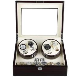 Cutie pentru intors ceasuri automatice iUni Watch Winder 4 + 6 spatii depozitare, Mahon-Crem