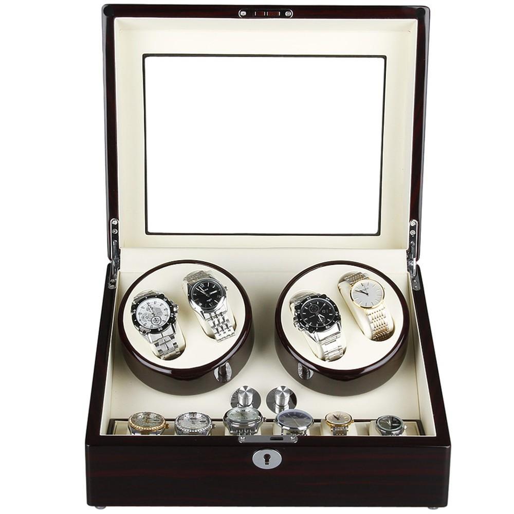 Cutie pentru intors ceasuri automatice iUni Watch Winder 4 + 6 spatii depozitare, Mahon-Crem imagine techstar.ro 2021