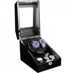 Cutie pentru intors ceasuri automatice iUni Watch Winder 2 + 3 spatii depozitare, Carbon
