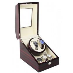 Cutie pentru intors ceasuri automatice iUni Watch Winder 2 + 3 spatii depozitare, Mahon-Crem