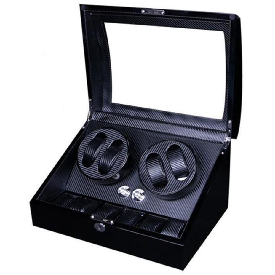 Cutie pentru intors ceasuri automatice iUni Watch Winder 4 + 6 spatii depozitare, Carbon imagine techstar.ro 2021
