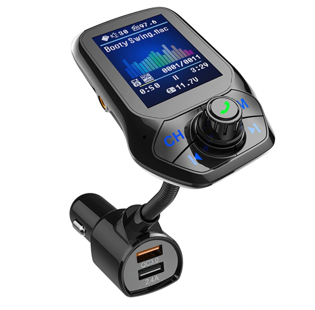 "Modulator Auto Transmitator FM Techstar® T43 Bluetooth 4.0 AUX USB QC3.0 Display Color 1.8"""" MP3 Player Android iOS imagine techstar.ro 2021"