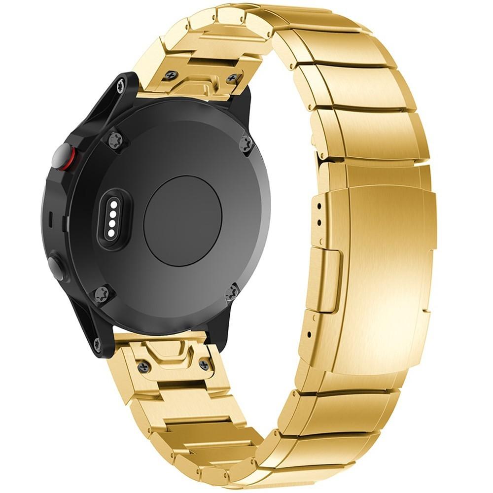 Curea ceas Smartwatch Garmin Fenix 5, 22 mm Otel inoxidabil iUni Gold Link Bracelet
