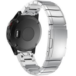Curea ceas Smartwatch Garmin Fenix 5, 22 mm Otel inoxidabil iUni Silver Link Bracelet