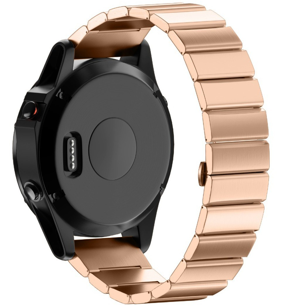 Curea ceas Smartwatch Garmin Fenix 3, 26 mm Otel inoxidabil iUni Rose Gold Link Bracelet