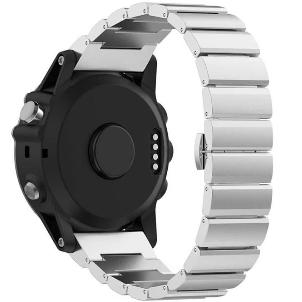 Curea ceas Smartwatch Garmin Fenix 3, 26 mm Otel inoxidabil iUni Silver Link Bracelet