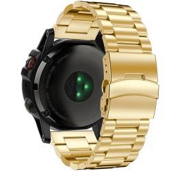 Curea ceas Smartwatch Garmin Fenix 3, 26 mm Otel inoxidabil iUni Gold