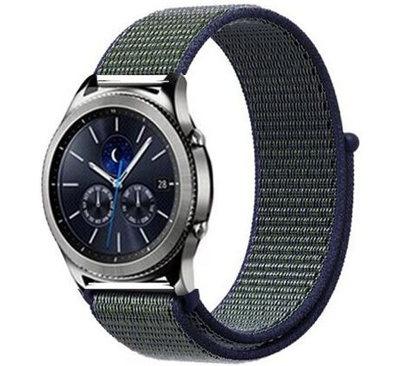 Curea ceas Smartwatch Samsung Gear S3, iUni 22 mm Soft Nylon Sport, Navy Blue - Green
