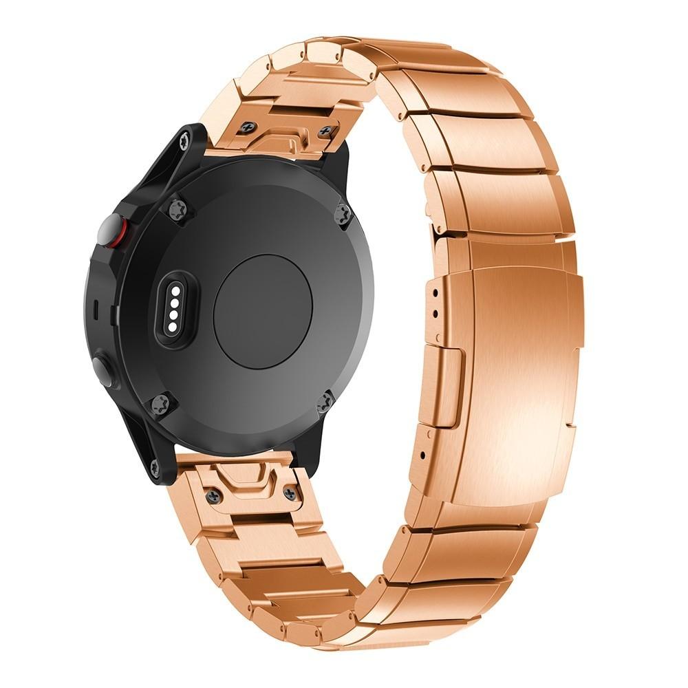 Curea Ceas Smartwatch Garmin Fenix 5, 22 Mm Otel Inoxidabil Iuni Rose Gold Link Bracelet