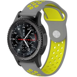 Curea ceas Smartwatch Samsung Gear S2, iUni 20 mm Silicon Sport Grey-Yellow