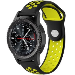 Curea ceas Smartwatch Samsung Gear S2, iUni 20 mm Silicon Sport Black-Yellow