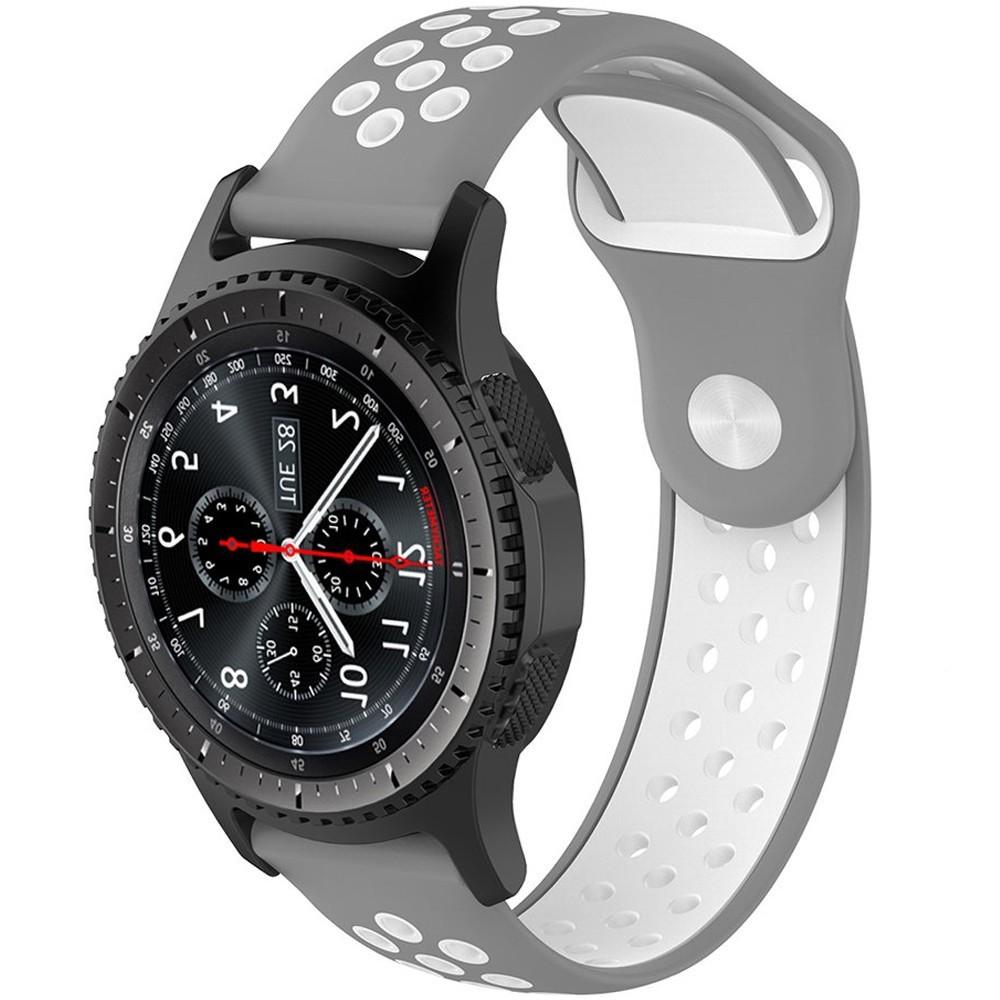 Curea ceas Smartwatch Samsung Gear S3, iUni 22 mm Silicon Sport Grey-White imagine techstar.ro 2021