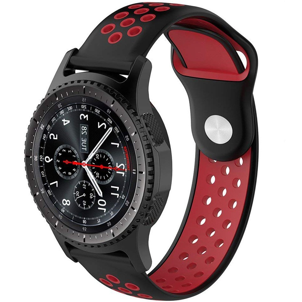 Curea ceas Smartwatch Samsung Gear S3, iUni 22 mm Silicon Sport Black-Red imagine techstar.ro 2021