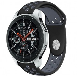 Curea ceas Smartwatch Samsung Gear S3, iUni 22 mm Silicon Sport Black-Grey