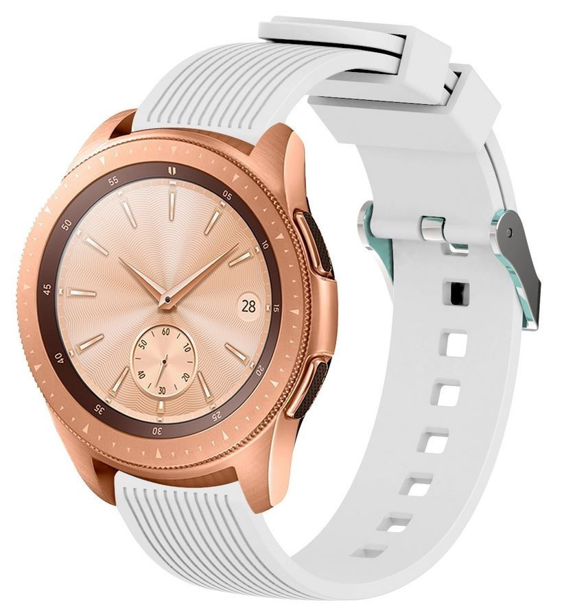 Curea ceas Smartwatch Samsung Gear S2, iUni 20 mm Silicon Sport White