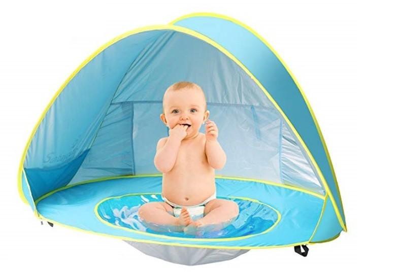 Cort plaja pentru copii cu mini piscina, protectie solara UV50+, Pop Up, imagine techstar.ro 2021