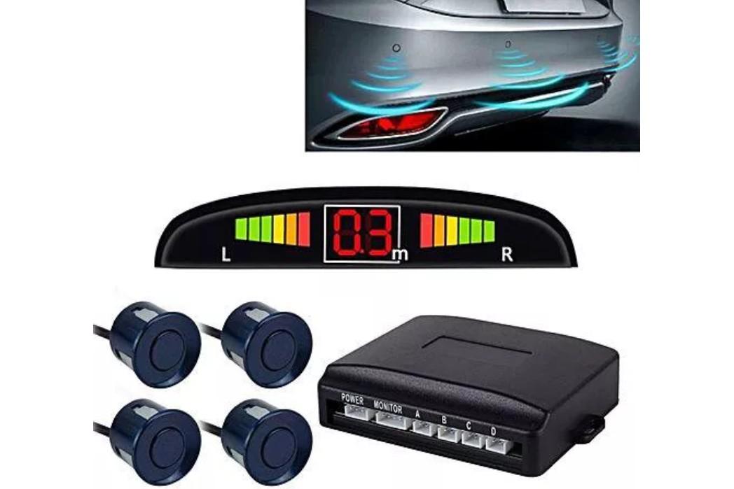 Set Senzori Parcare Auto Detector Parktronic Display Radar Monitor 4 Senzori Albastru Inchis imagine techstar.ro 2021