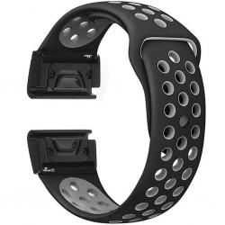 Curea ceas Smartwatch Garmin Fenix 5, 22 mm iUni Silicon Sport Negru-Gri
