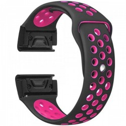 Curea ceas Smartwatch Garmin Fenix 5, 22 mm iUni Silicon Sport Negru-Roz