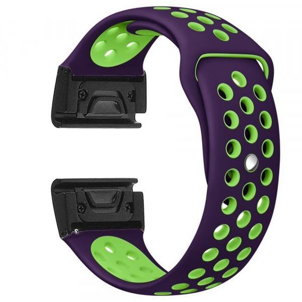 Curea ceas Smartwatch Garmin Fenix 5, 22 mm iUni Silicon Sport Mov-Verde imagine techstar.ro 2021