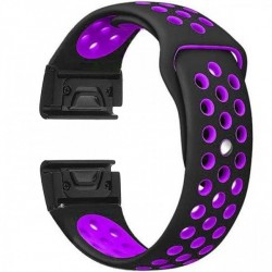 Curea ceas Smartwatch Garmin Fenix 5, 22 mm iUni Silicon Sport Negru-Mov