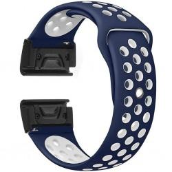Curea ceas Smartwatch Garmin Fenix 5, 22 mm iUni Silicon Sport Albastru-Alb