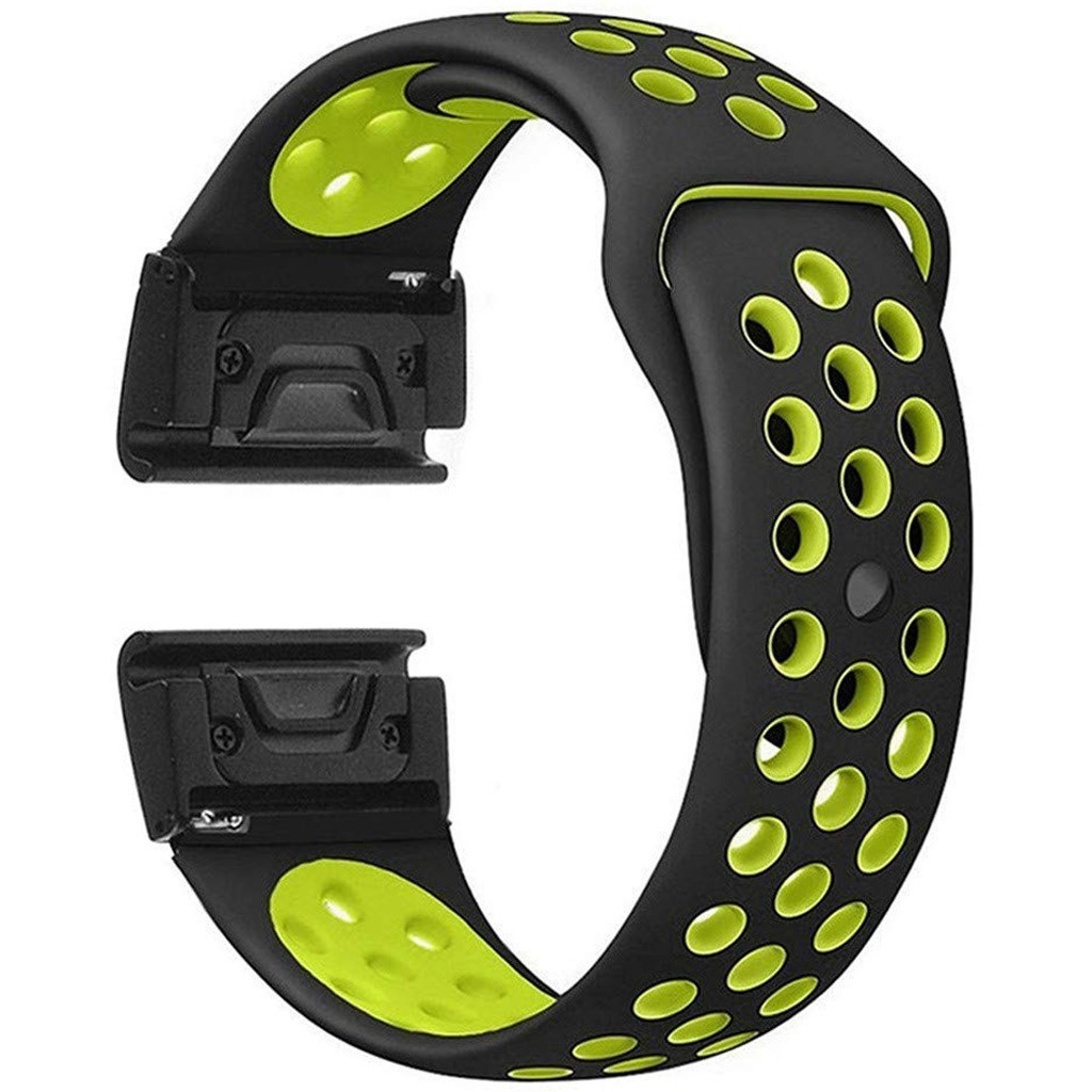 Curea ceas Smartwatch Garmin Fenix 5, 22 mm iUni Silicon Sport Negru-Galben