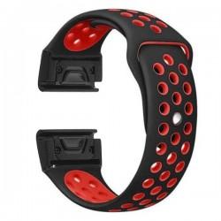 Curea ceas Smartwatch Garmin Fenix 5, 22 mm iUni Silicon Sport Negru-Rosu