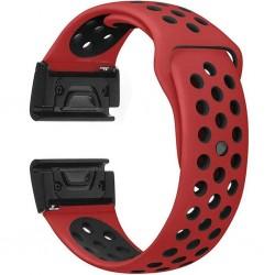 Curea ceas Smartwatch Garmin Fenix 5, 22 mm iUni Silicon Sport Rosu-Negru