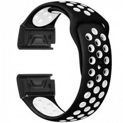 Curea ceas Smartwatch Garmin Fenix 5, 22 mm iUni Silicon Sport Negru-Alb