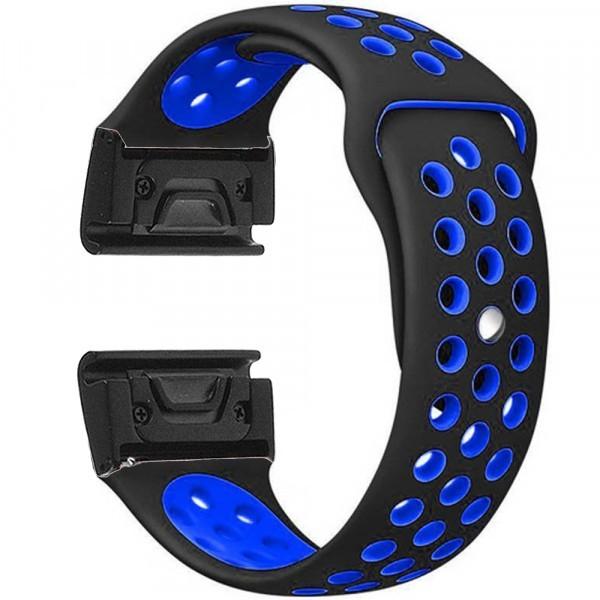 Curea ceas Smartwatch Garmin Fenix 5, 22 mm iUni Silicon Sport Negru-Albastru