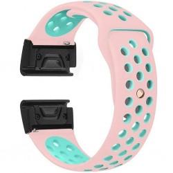 Curea ceas Smartwatch Garmin Fenix 5, 22 mm iUni Silicon Sport Roz-Albastru